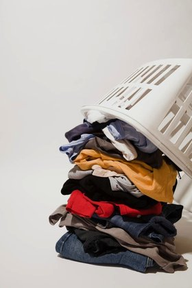 Laundry being tipped out of basket