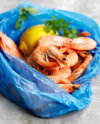 Plastic bag of shrimps