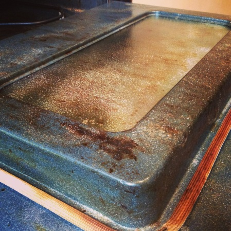 II thought it was pretty clean until I sprayed the oven cleaner. Gross!
