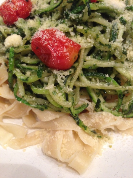 Fresh Pasta with Zucchini, Basil Oil, Parmesan Cheese and Oven Roasted Tomatoes