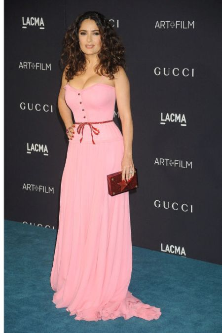 Salma Hayek in a pepto pink dress