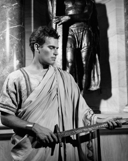 Charlton Heston on-set of the Film, Julius Caesar, 1950